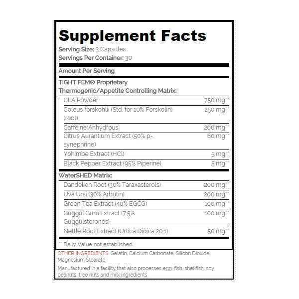 Tauku dedzinātājs un svara kontroles sporta uztura produkts SAN Tight Fem